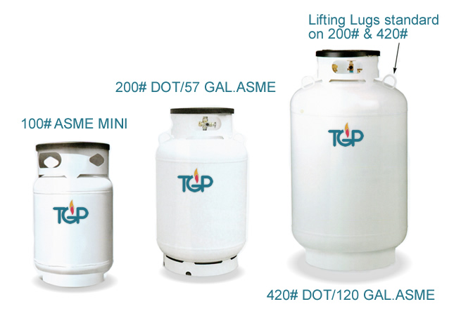 100# ASME MINI, 200# DOT/57 GAL.ASME, 420# DOT/120 GAL.ASME